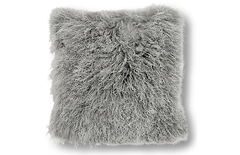 Tibetan 24x24 Pillow, Tipped Gray
