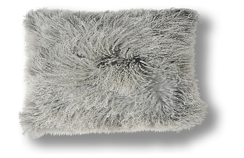Dyed 10x20 Tibetan Lamb Pillow, Gray