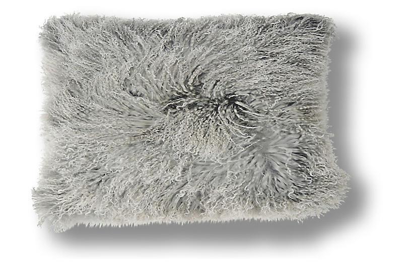 Dyed 10x20 Tibetan Lamb Pillow, Gray