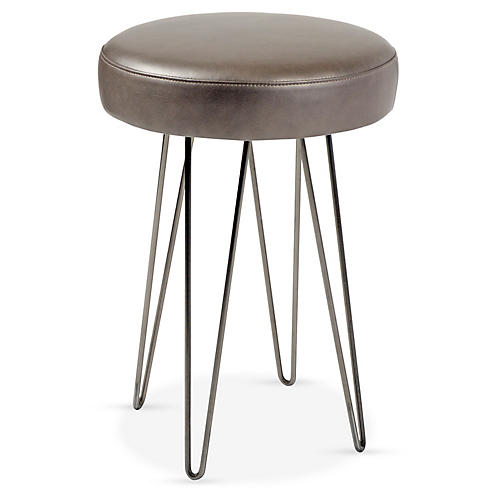 Hairpin Counter Stool, Pewter/Mushroom Leather