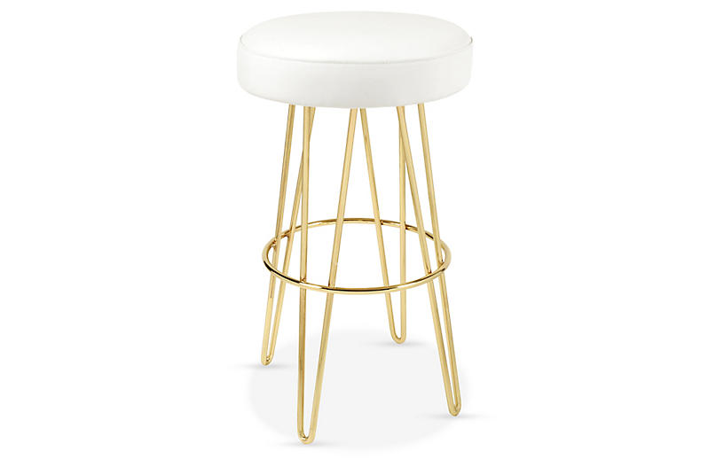 Hairpin Swivel Barstool, Brass/White Leather