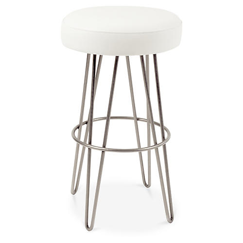 Hairpin Swivel Barstool, Pewter/White Leather