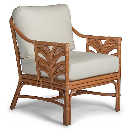 Palm Leaf Rattan Accent Chair, Off-White