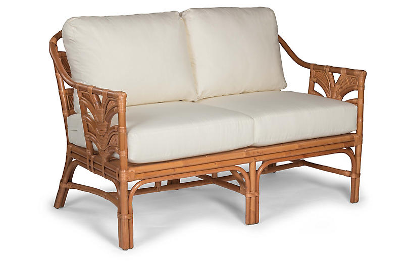 Palm Leaf Rattan Loveseat, Off-White