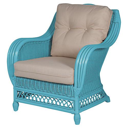 Plantation Club Chair, Blue/Beige