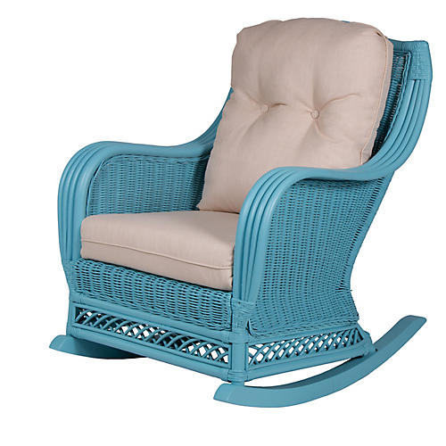 Plantation Rocker, Blue/Beige
