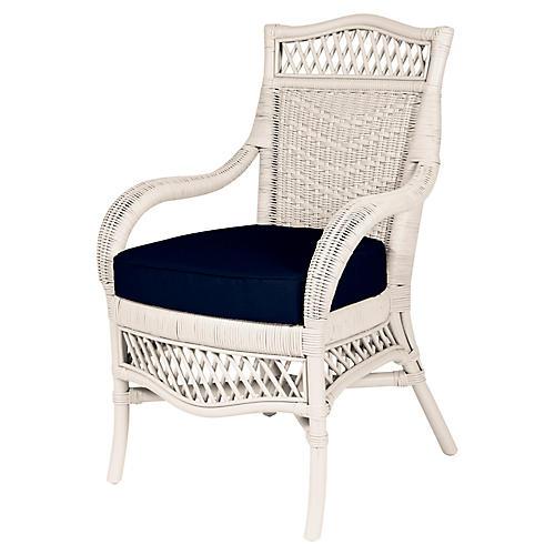 Plantation Armchair, White/Navy