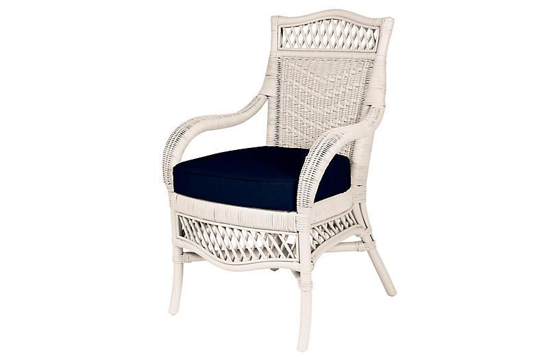 Windsor Armchair, White/Navy