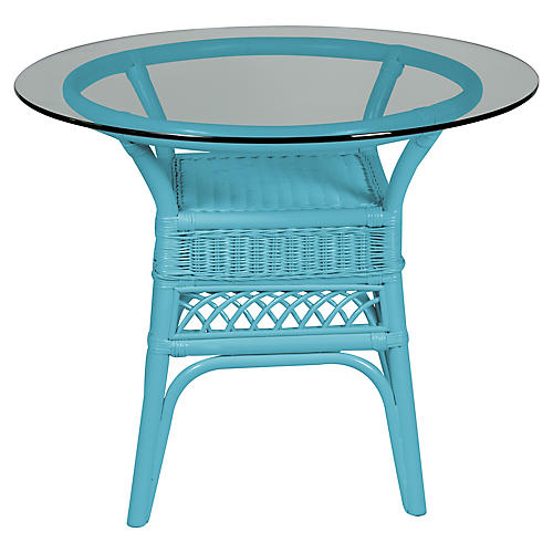 Plantation Glass-Top Side Table, Blue