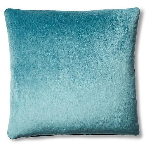 Velvet 20x20 Outdoor Pillow, Aqua