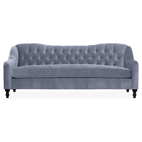 Waverly Tufted Sofa, Delft Blue Velvet