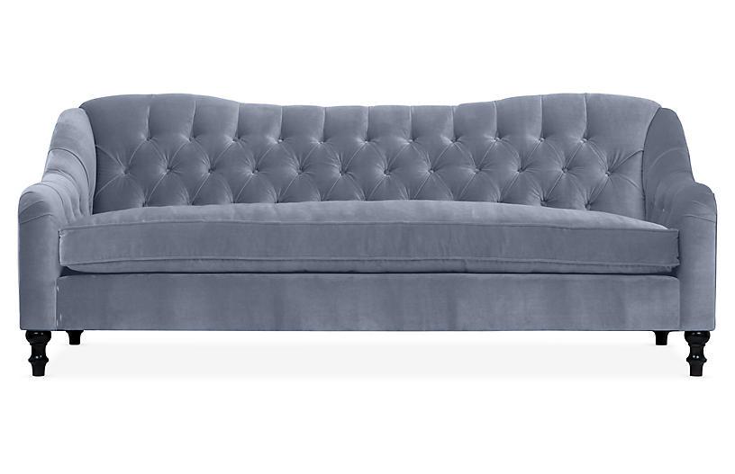 Waverly Tufted Sofa, Delft Blue Velvet