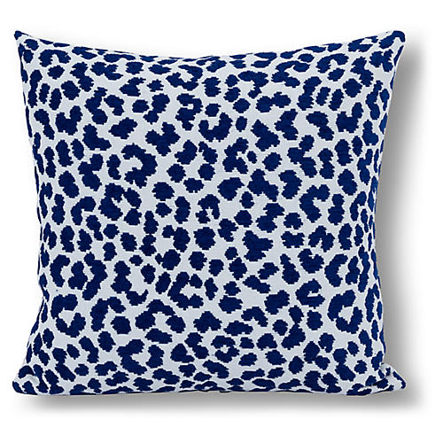 Leopard Print 20x20 Outdoor Pillow, Indigo