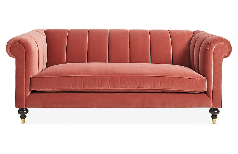 Maisie Channeled Sofa, Rust Velvet