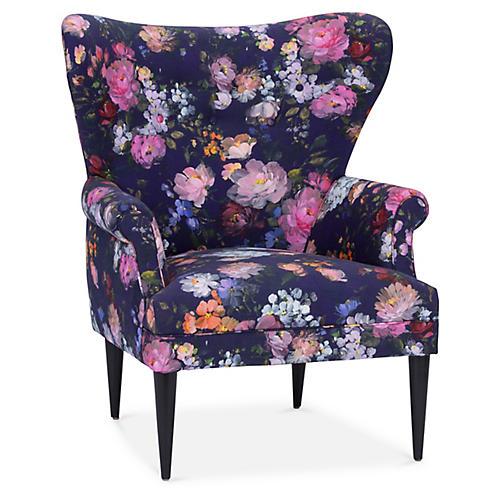 Olsen Wingback Chair, Royal Blue Floral