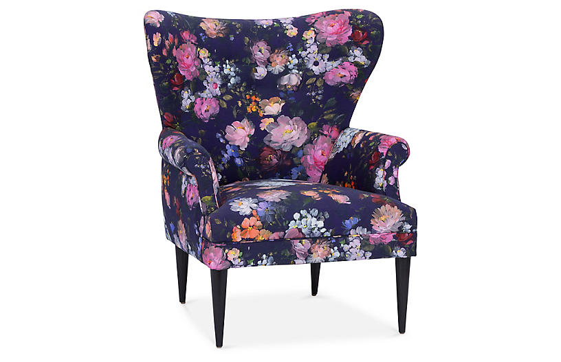 Olsen Wingback Chair, Royal Blue Floral