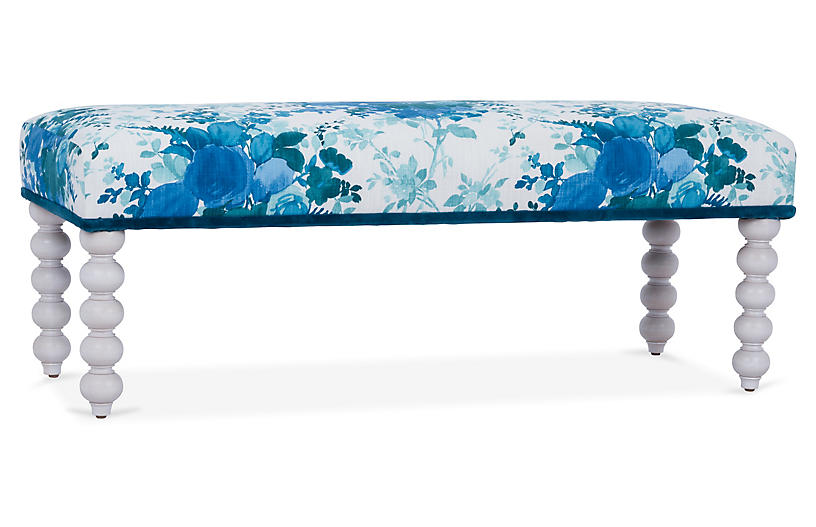 Carly Bench, Blue Floral