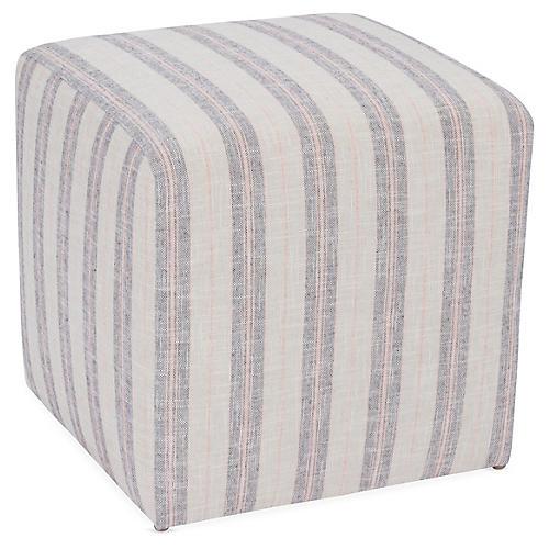 Quinn Cube Ottoman, Blush/Gray Stripe