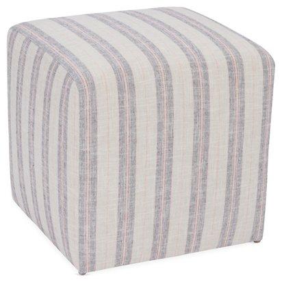 Kim Salmela Quinn Cube Ottoman Blush Gray Stripe One Kings Lane