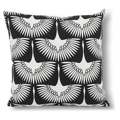 Anca Bird 20x20 Outdoor Pillow, Black/White