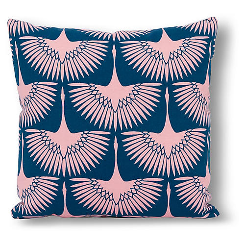 Anca Bird 20x20 Outdoor Pillow, Blue/Blush
