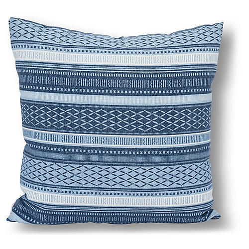 Boho 22x22 Outdoor Pillow, Indigo/White