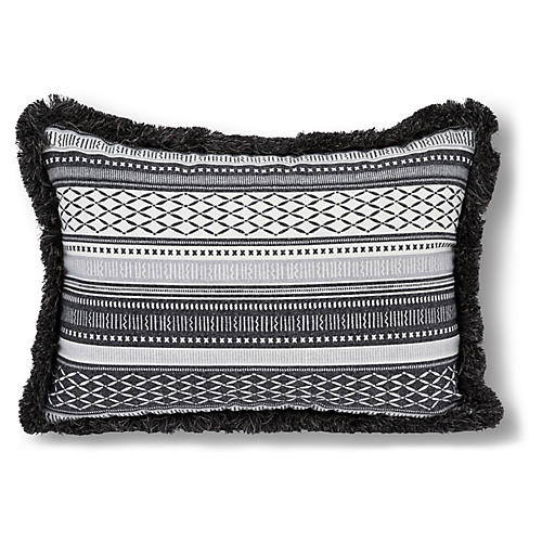 Boho 14x20 Outdoor Fringe Pillow, Black/White