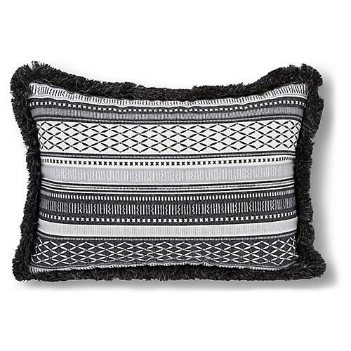 Boho 14x20 Outdoor Fringe Pillow, Black/White