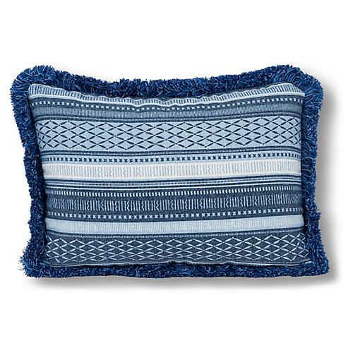 Boho 14x20 Outdoor Fringe Pillow, Indigo/White