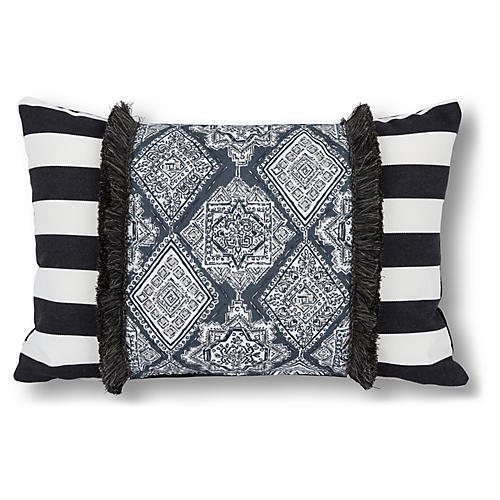 Patchwork 16x24 Outdoor Pillow, Black/Multi