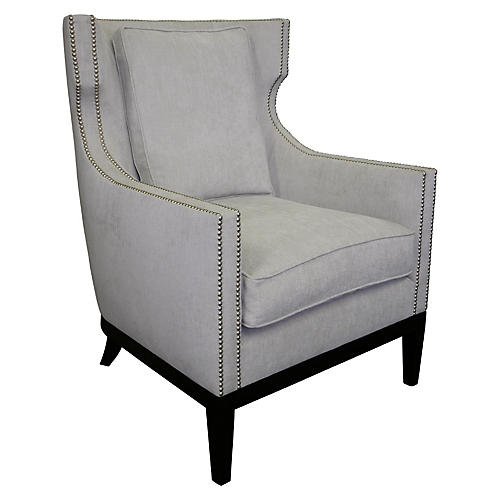 Roswell Wingback Chair, Dove Gray Crypton