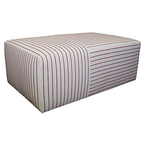 Quinn Ottoman, Currant Stripe
