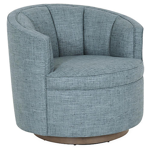 Jackie Swivel Club Chair, Teal Linen