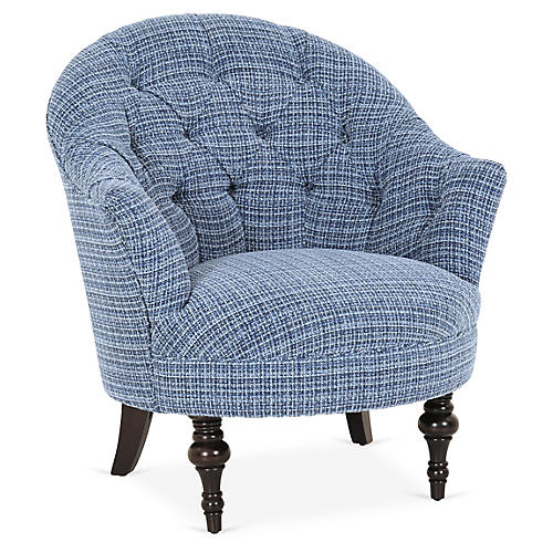 Elizabeth Accent Chair, Indigo Crypton