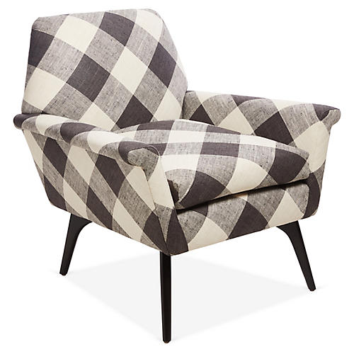 Rowan Accent Chair, Black Plaid
