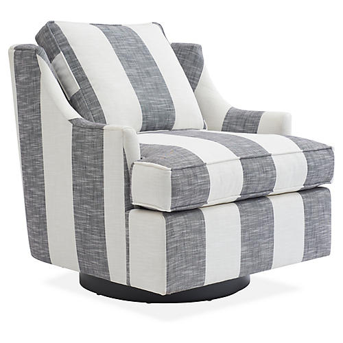 Palisades Swivel Chair, Ivory/Black Stripe Crypton