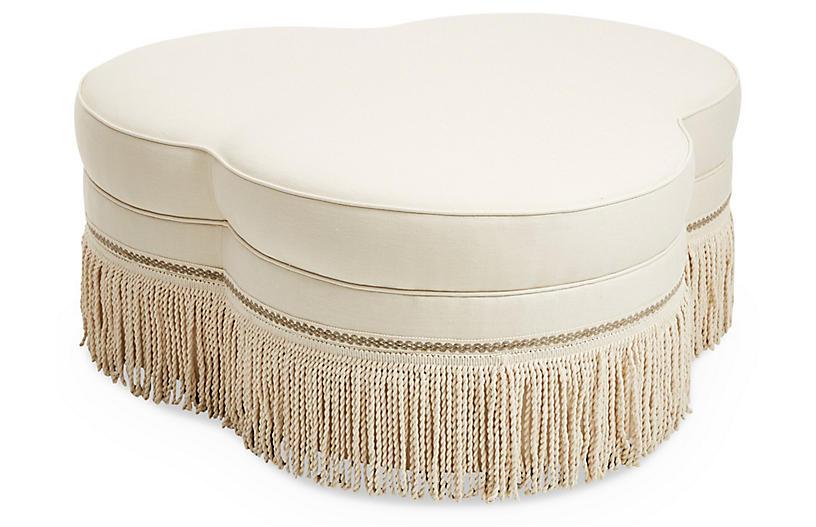 Portsmouth Ottoman, Cream Linen