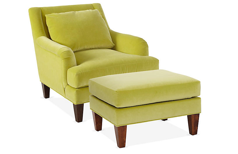 Merrimack Chair & Ottoman Set, Chartreuse