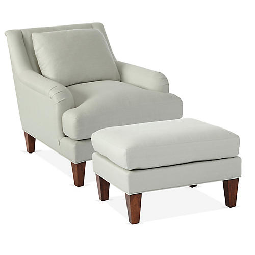 Merrimack Chair & Ottoman Set, Sea Glass
