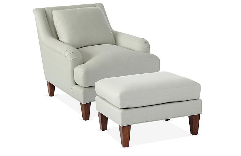 Merrimack Chair & Ottoman Set, Sea Glass