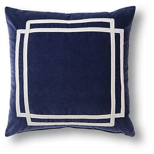 Scout 19x19 Pillow, Navy/White Velvet