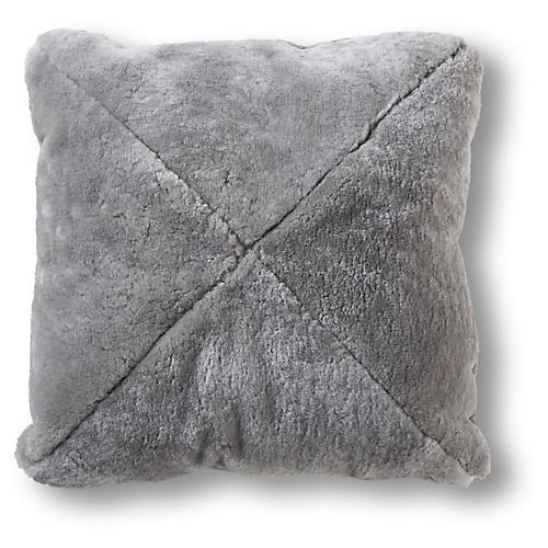 Lancaster 22x22 Faux-Fur Pillow, Gray