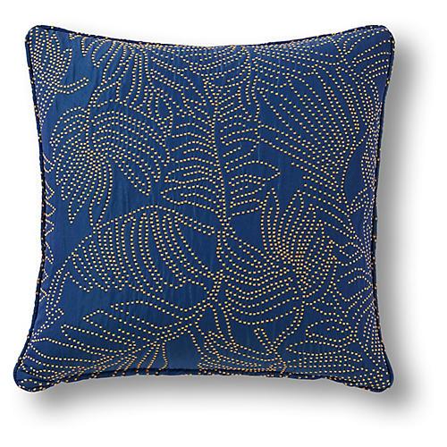 Claren 19x19 Pillow, Lapis/Gold