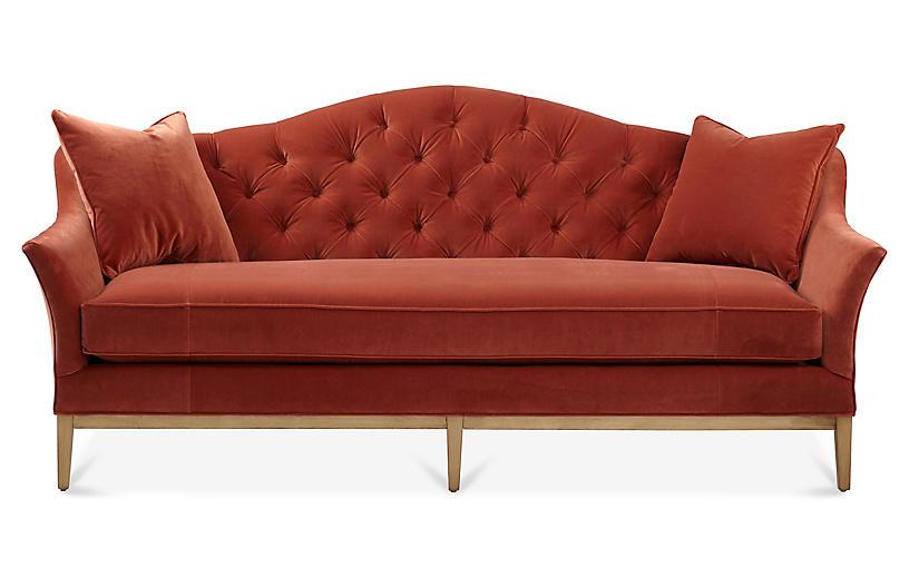 Ashby Sofa, Rust Velvet