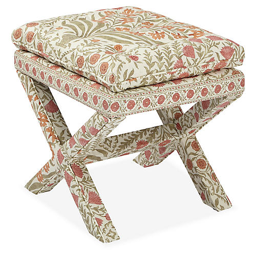 Dalton Pillow-Top Ottoman, Sage/Rust