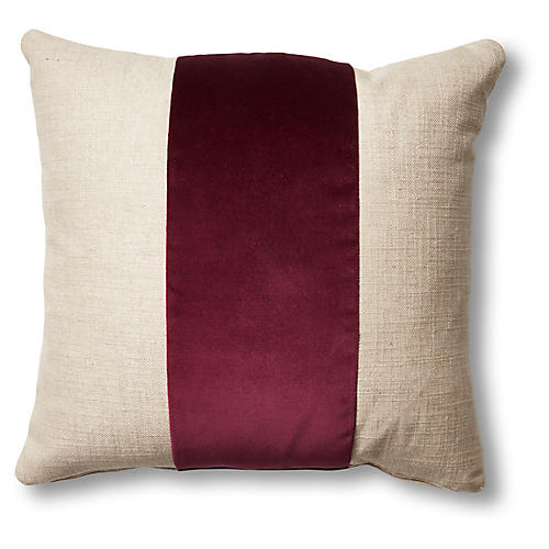 Blakely 19x19 Pillow, Natural/Wine
