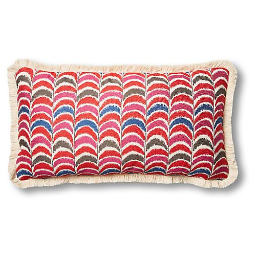 Zoe 12x23 Lumbar Pillow, Flame/Fuchsia