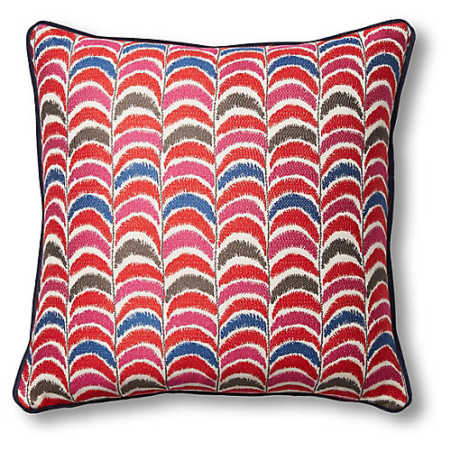 Nell 19x19 Pillow, Flame/Navy