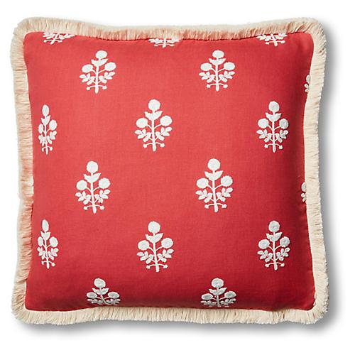 Nomi 19x19 Pillow, Coral/White Linen