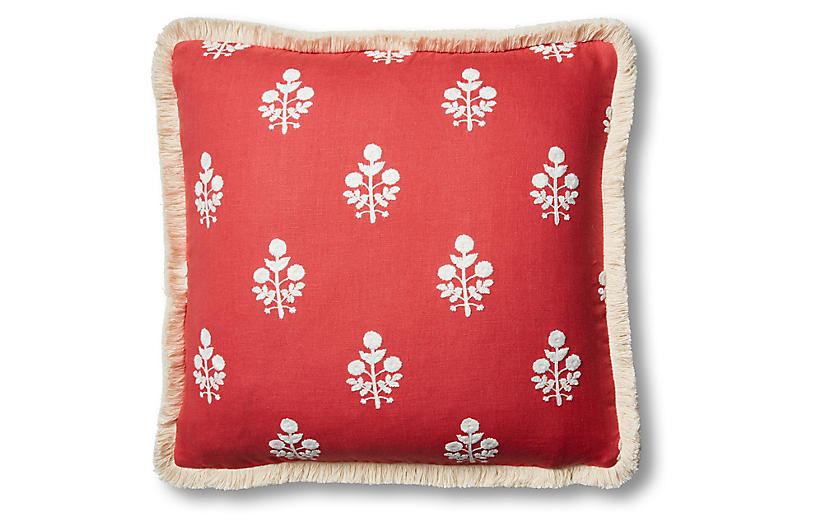 Nomi 19x19 Pillow - Coral/White Linen
